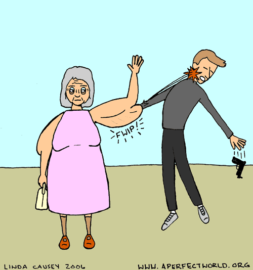 Granny thwarts a robber