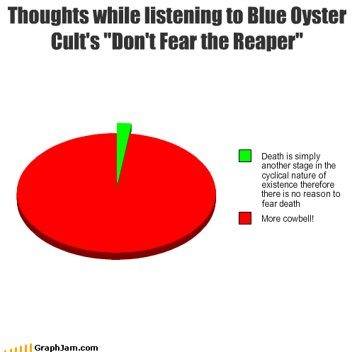 Pie Chart of thoughts while listening to Blue Oyster Cult's Don't Fear the Reaper