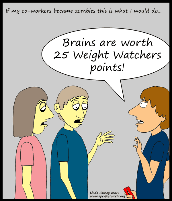 Brains are worth 25 Weight Watchers points.